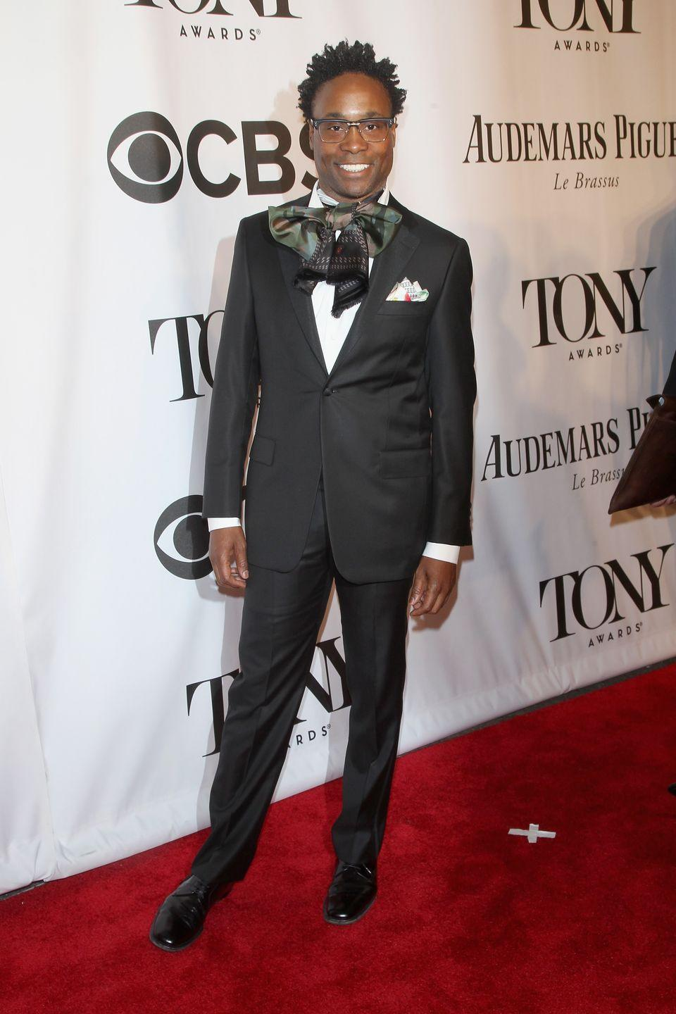 <p>Porter at the 68th annual Tony Awards in a black suit and an oversized printed ascot. </p>