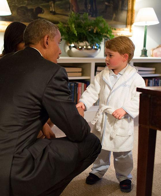<p>Yes, it was one of the sweetest Prince George moments we have witnessed to date. When former President of the United States dropped by to meet his parents, Prince George was probably glad he skipped his bedtime. The toddler introduced himself to Obama in his fluffy bathrobe, embellished with his name. And soon enough, the personalised item by My 1st Years sold out online. Thankfully, it's returned and would make a brilliant Christmas gift for your little one. <em>[Photo: Getty]</em> </p>
