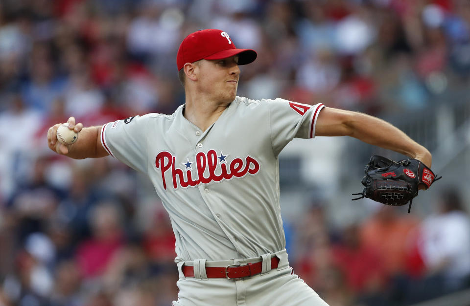 Philadelphia Phillies starting pitcher Nick Pivetta delivers during the first inning of the team's baseball game against the Atlanta Braves on Friday, June 14, 2019, in Atlanta. (AP Photo/John Bazemore)