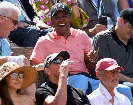 Mar 17, 2018; Indian Wells, CA, USA; Former professional boxer Sugar Ray Leonard attends the semifinal match between Roger Federer and Borna Coric in the BNP Paribas Open at the Indian Wells Tennis Garden. Mandatory Credit: Jayne Kamin-Oncea-USA TODAY Sports