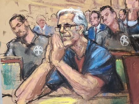 FILE PHOTO: Jeffrey Epstein looks on during a a bail hearing in U.S. financier Jeffrey Epstein's sex trafficking case, in this court sketch in New York