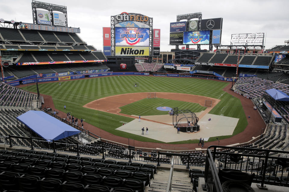 A mostly empty stadium is seen before the Opening Day baseball game between the Mets and the Atlanta Braves at Citi Field, Friday, July 24, 2020, in New York. (AP Photo/Seth Wenig)