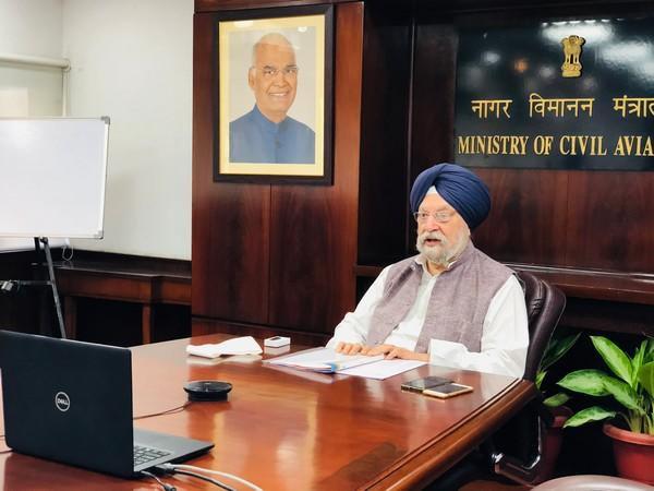 Union Civil Aviation Minister Hardeep Singh Puri holding video conference with Ambassador of European Union to India, Ugo Astuto and other diplomats from 27 EU Member States.
