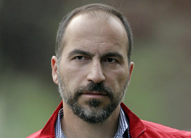 New Uber CEO Dara Khosrowshai recalled at Uber's all-hands on Wednesday how Uber's board members pitched him on the CEO role. Source: AP Photo/Paul Sakuma, File