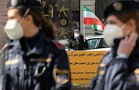 Protesters demonstrate against Iran's government outside the Vienna hotel where diplomats are seeking to revive the nuclear accord