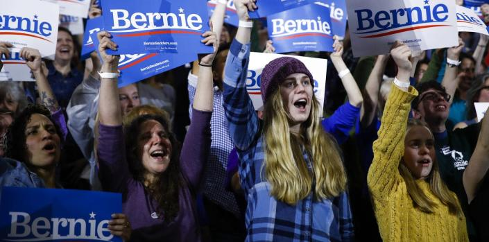 "<span class=""caption"">Not all of Bernie Sanders' young supporters are showing up at the polls.</span> <span class=""attribution""><a class=""link rapid-noclick-resp"" href=""http://www.apimages.com/metadata/Index/Election-2020-Bernie-Sanders/d3c4c29a32b24c72be94d55489fd3e42/6/0"" rel=""nofollow noopener"" target=""_blank"" data-ylk=""slk:AP Photo/Matt Rourke"">AP Photo/Matt Rourke</a></span>"