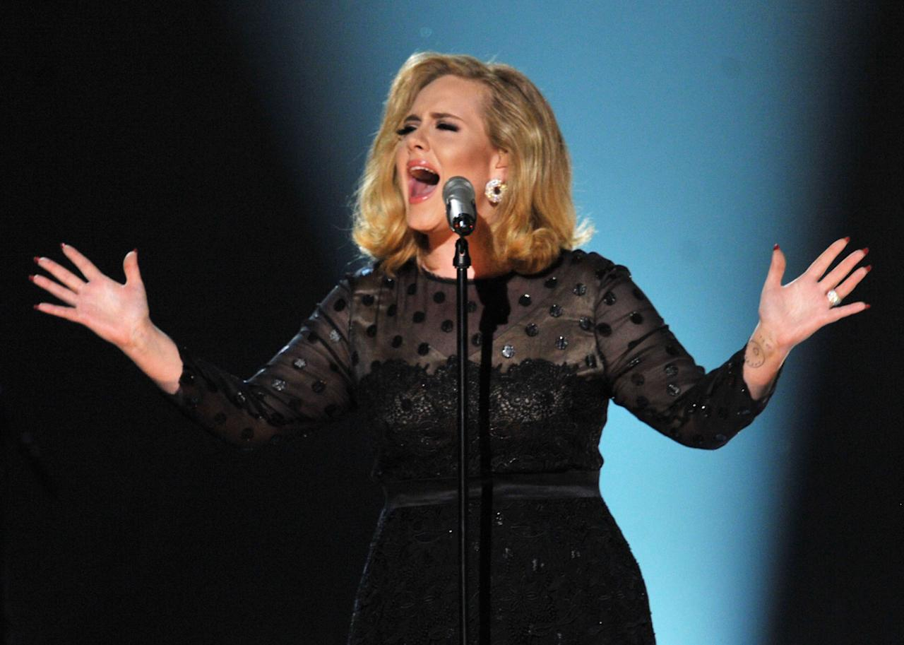 LOS ANGELES, CA - FEBRUARY 12:  Singer Adele performs onstage at the 54th Annual GRAMMY Awards held at Staples Center on February 12, 2012 in Los Angeles, California.  (Photo by Kevin Winter/Getty Images)