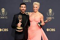 """""""Ted Lasso"""" won prizes for best supporting actor Brett Goldstein and best supporting actress Hannah Waddingham -- all of the major acting award winners were white (AFP/Rich Fury)"""