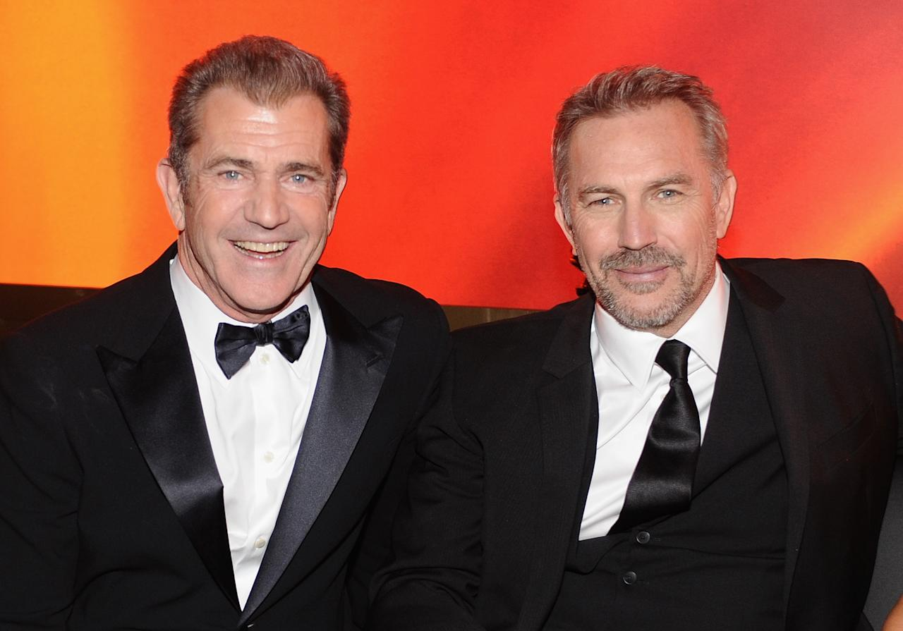 Mel Gibson and Kevin Costner attends the 2013 InStyle and Warner Bros. 70th Annual Golden Globe Awards Post-Party held at the Oasis Courtyard in The Beverly Hilton Hotel on January 13, 2013 in Beverly Hills, California.