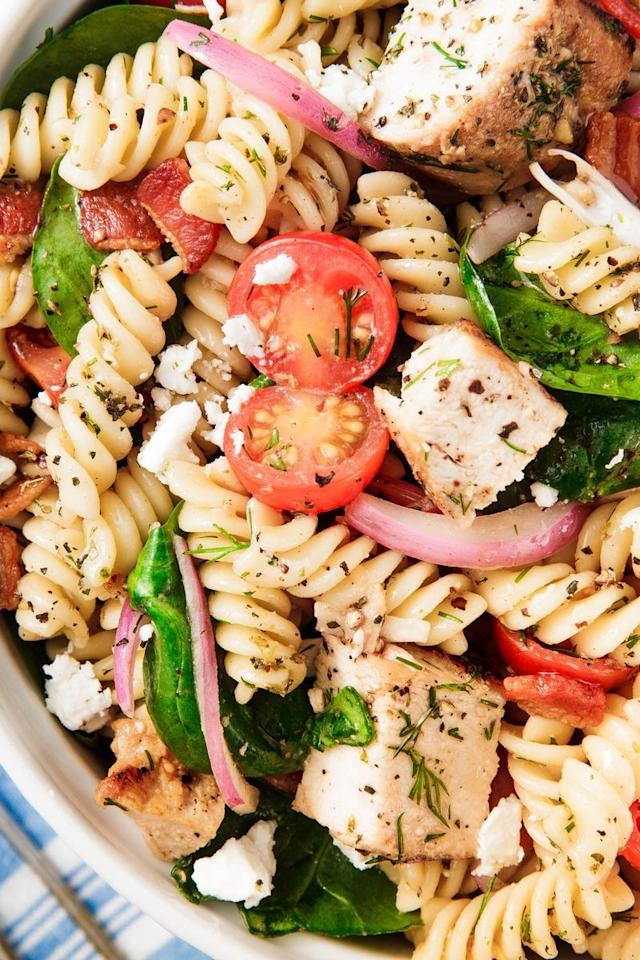 """<p>There's nothing worse than a pasta salad with mushy pasta. Learn <a href=""""https://www.delish.com/uk/food-news/a29870026/how-to-cook-pasta/"""">how to cook pasta</a> (it's trickier than you think!) and get your fusilli perfectly al dente.</p><p>Get the <a href=""""https://www.delish.com/uk/cooking/recipes/a30438961/chicken-pasta-salad/"""" target=""""_blank"""">Chicken Pasta Salad</a> recipe.</p>"""