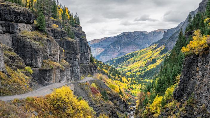 """Ouray, Colorado, is called the """"Switzerland of America."""" It's just north of Telluride and surrounded by the usually snow-capped San Juan Mountains."""