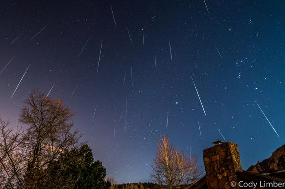 Astrophotographer Cody Limber sent in a composite image of Geminid meteors falling over Boulder, CO, on Dec. 14, 2013.