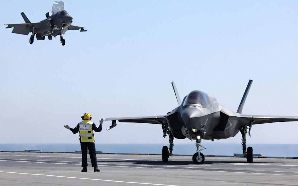 F-35B fighters land aboard HMS Queen Elizabeth during exercises this week - GETTY IMAGES