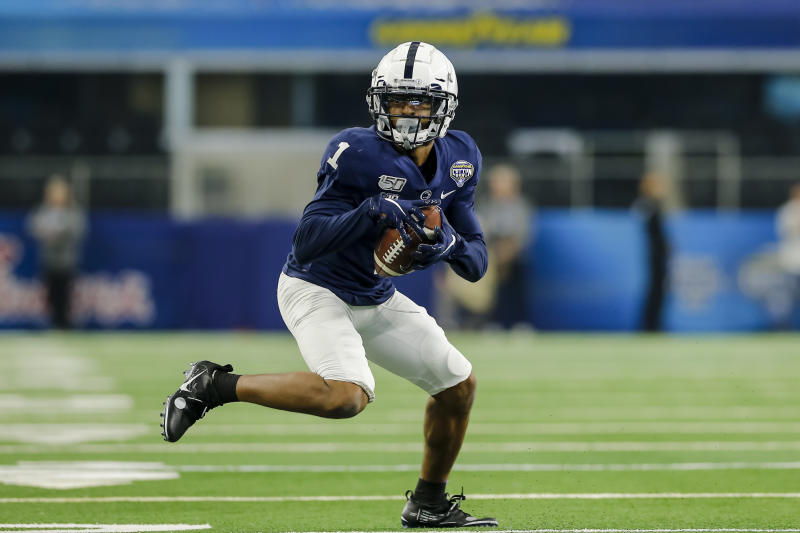 Penn State WR KJ Hamler has some questionable hands, but also blinding speed. (Photo by Matthew Pearce/Icon Sportswire via Getty Images)