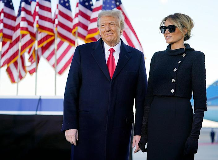 """<p>""""We will be back in some form,"""" <a href=""""https://people.com/politics/donald-trump-melania-trump-leave-white-house-for-last-time-head-to-mar-a-lago-florida/"""" rel=""""nofollow noopener"""" target=""""_blank"""" data-ylk=""""slk:Trump said"""" class=""""link rapid-noclick-resp"""">Trump said</a> in his speech, receiving a small burst of cheers.</p> <p>Then, the president gave his parting message: """"Have a good life,"""" Trump said. """"We will see you soon.""""</p>"""