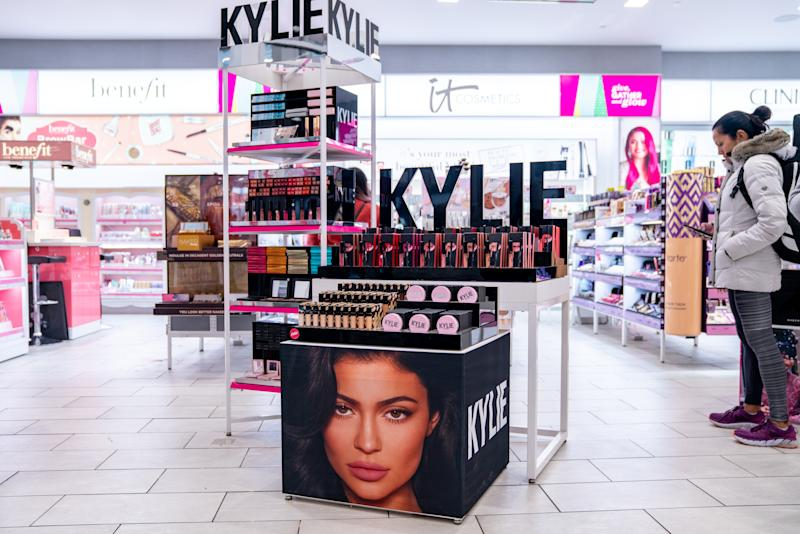 NEW YORK, NY - NOVEMBER 18: Kylie Cosmetics are displayed at Ulta beauty on November 18, 2019 in New York City. Kylie Cosmetics has sold a controlling stake to Coty Inc for a reported $600 Million. Coty Inc plans to buy 51% and the controlling share of Kylie Cosmetics, valuing it at $1.2 billion. Kylie Jenner will remain the public face of the brand. (Photo by David Dee Delgado/Getty Images)