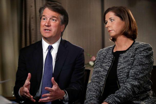 PHOTO: Brett Kavanaugh, sitting with his wife Ashley Estes Kavanaugh, answers questions during a FOX News interview on Sept. 24, 2018, in Washington. (Jacquelyn Martin/AP)