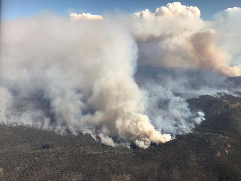 An aerial view of bushfires burning south of Canberra on January 31, 2020: Getty