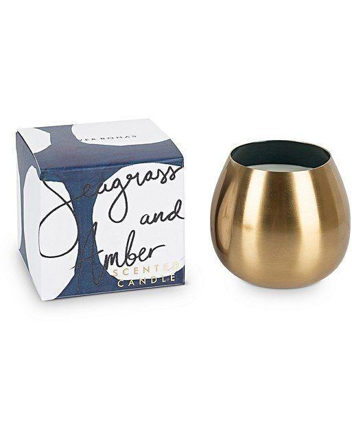 """<p>We may repurpose this seagrass and amber-scented votive as a gilded wine goblet post burning.</p><br><br><strong>Oliver Bonas</strong> Seagrass & Amber Metallic Scented Candle, $32, available at <a href=""""https://www.oliverbonas.com/us/gift/seagrass-amber-metallic-scented-candle"""" rel=""""nofollow noopener"""" target=""""_blank"""" data-ylk=""""slk:Oliver Bonas"""" class=""""link rapid-noclick-resp"""">Oliver Bonas</a>"""