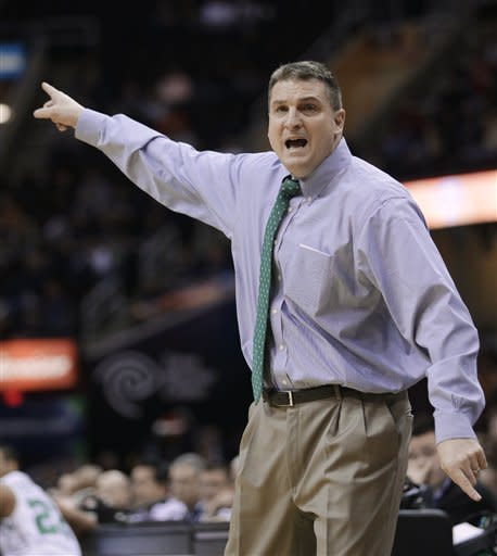 Ohio coach Jim Christian reacts during the first half of an NCAA college basketball game against Western Michigan in the semifinals of the Mid-American Conference men's tournament Friday, March 15, 2013, in Cleveland. Ohio won 74-63. (AP Photo/Tony Dejak)