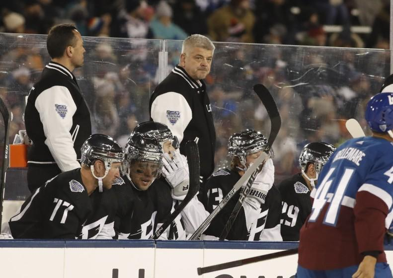 Los Angeles Kings head coach Todd McLellan in the first period of an NHL hockey game Saturday, Feb. 15, 2020, at Air Force Academy, Colo. (AP Photo/David Zalubowski)