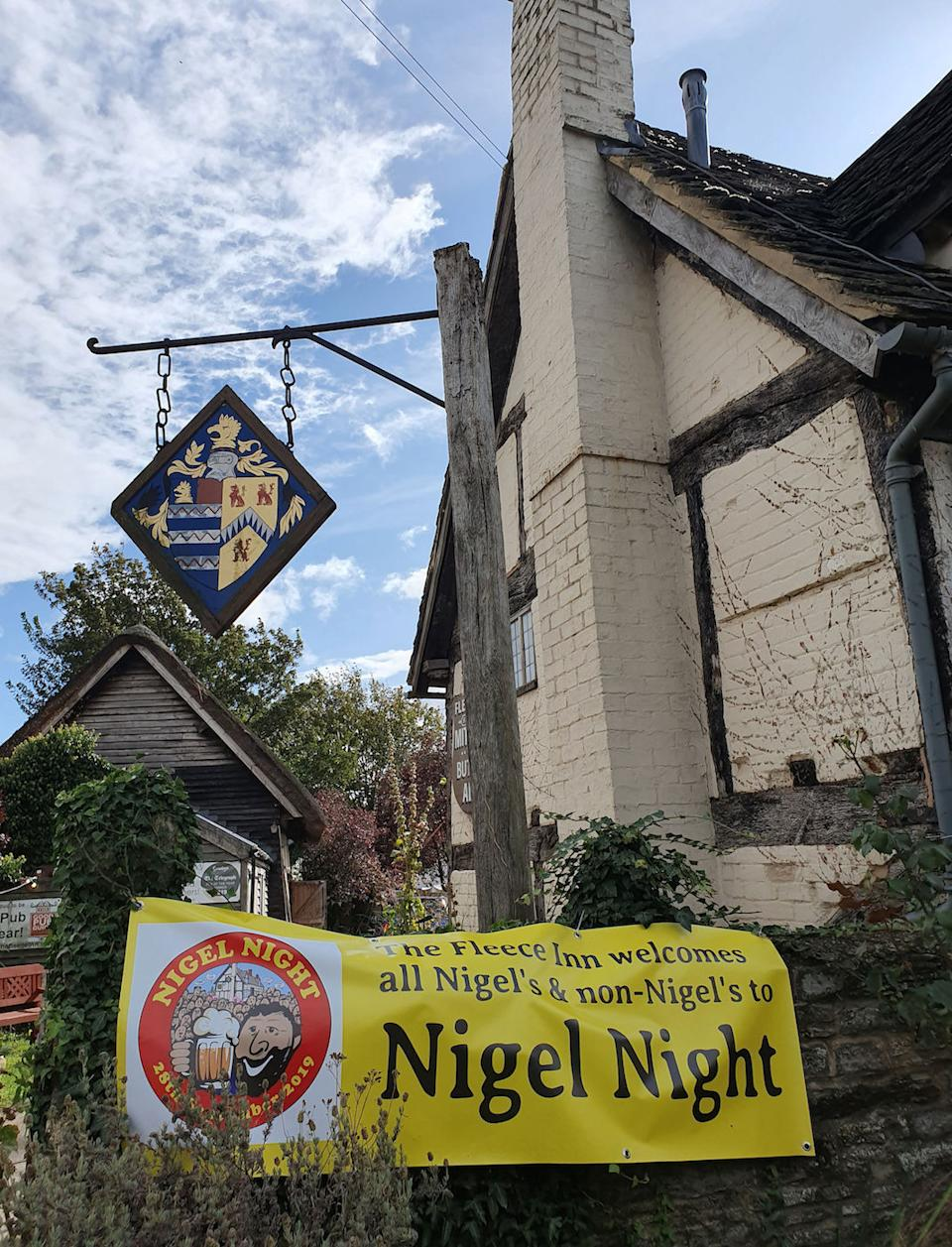 The Fleece Inn in Worcestershire hosted the Nigel-themed event (Picture: PA)