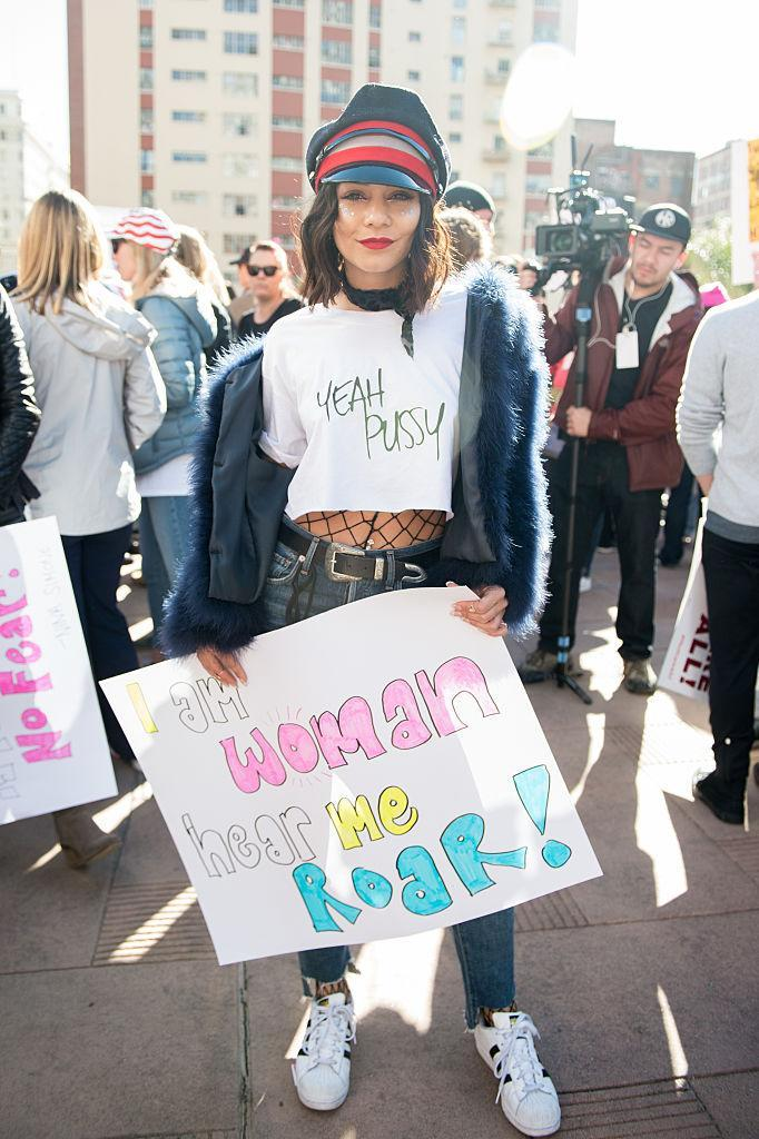 Vanessa Hudgens at the Women's March in Los Angeles. (Photo: Getty Images)