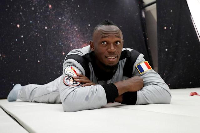 Retired sprinter Usain Bolt poses as he enjoys zero gravity conditions during a flight in a specially modified Airbus Zero-G plane above Reims, France, September 12, 2018. REUTERS/Benoit Tessier