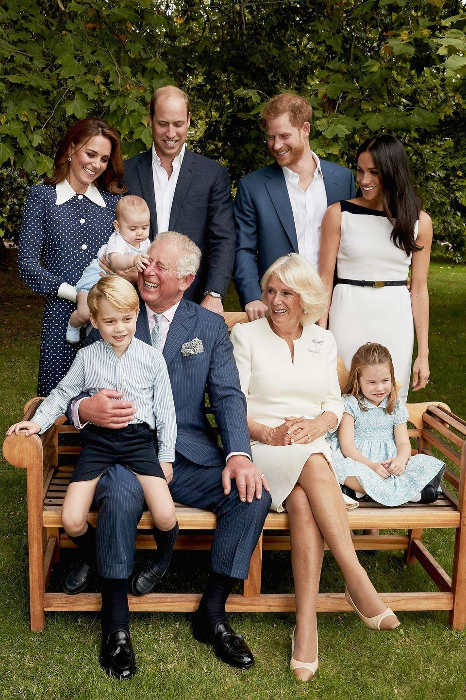 <p>Prince Louis grabs his grandpa's nose as the rest of the royal family watches in delight. </p>