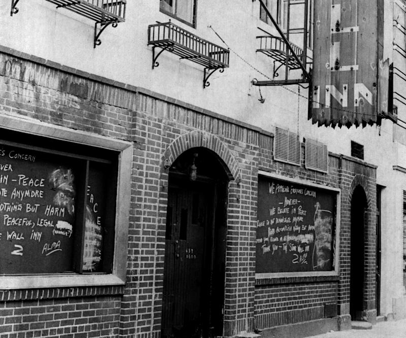 """""""Spontaneous demonstrations at New York City's Stonewall Inn by members of the LGBT community were sparked by a police raid during the early morning hours of June 28, 1969. (Photo: Jerry Engel/New York Post Archives /(c) NYP Holdings, Inc. via Getty Images)"""
