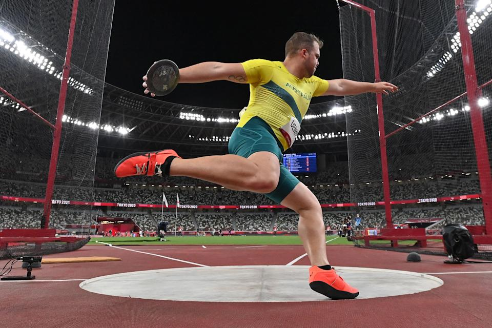 <p>Australia's Matthew Denny competes in the men's discus throw final during the Tokyo 2020 Olympic Games at the Olympic Stadium in Tokyo on July 31, 2021. (Photo by Andrej ISAKOVIC / AFP) (Photo by ANDREJ ISAKOVIC/AFP via Getty Images)</p>