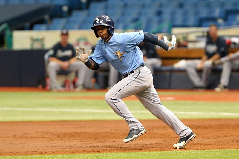 ST. PETERSBURG, FL - SEP 28: 2017 top international signee Wander Franco of the Rays hustles over to second base during the Florida Instructional League (FIL) game between the FIL Braves and FIL Rays on September 28, 2017, at Tropicana Field in St. Petersburg, FL. (Photo by Cliff Welch/Icon Sportswire via Getty Images)