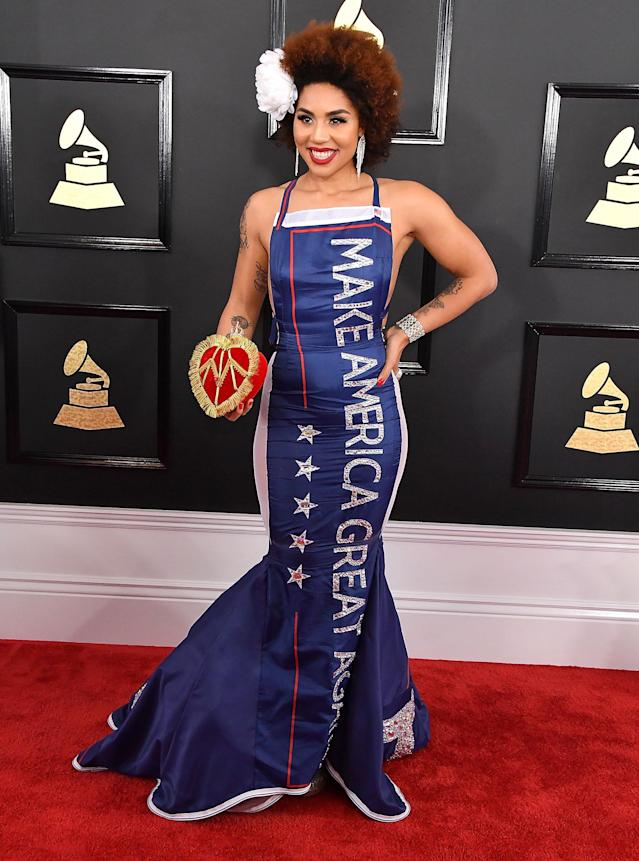 Joy Villa supported President Trump at this year's Grammy Awards. (Photo: Getty Images)