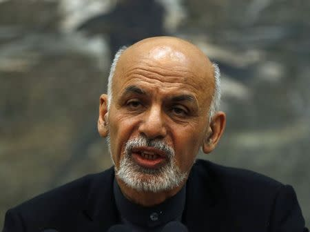 Afghanistan's President Ashraf Ghani speaks to the media during an event in Kabul