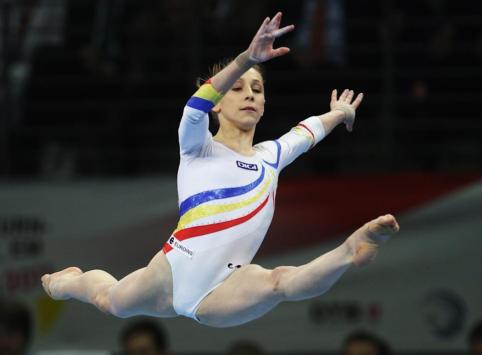 Diana Chelaru, 18, of Romania performs on the floor during the European Championships Artistic Gymnastics Women's Apparatus Finals at Max-Schmeling Hall on April 10, 2011 in Berlin, Germany. (Joern Pollex/Bongarts/Getty Images)