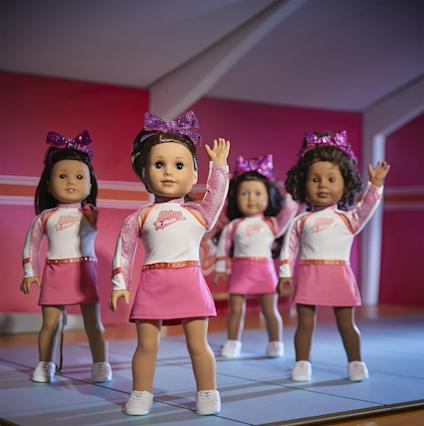 American Girl doll Joss Kendrick at the front of a cheerleading squad