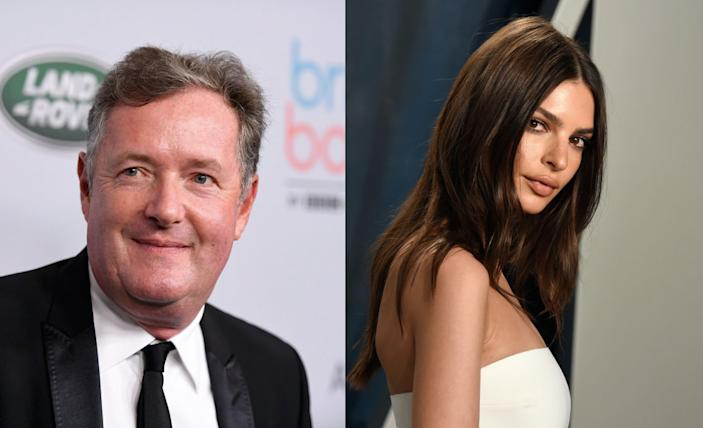 Piers Morgan has hit out at pregnant naked celebrities following images of Emily Ratajowski's nude bump images. Morgan pictured in 2019, Ratajowski pictured in February 2020. (Getty Images)