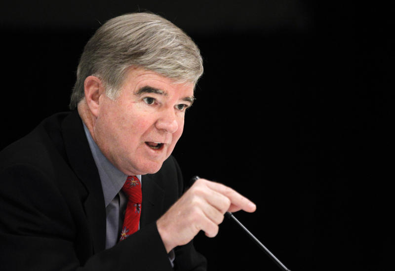 "FILE - This Oct. 24, 2011 file photo shows NCAA President Mark Emmert speaking about policy changes being considered by the NCAA during the Knight Commission on Intercollegiate Athletics meeting,  in Washington. Emmert says the firings of several highly successful coaches involved in scandals shows a ""sea change in responsibility"" in college sports. Ohio State, North Carolina, Arkansas, Tennessee and, most notably, Penn State with Joe Paterno, all dismissed winning football and men's basketball coaches in the past year.  (AP Photo/Manuel Balce Ceneta, File)"