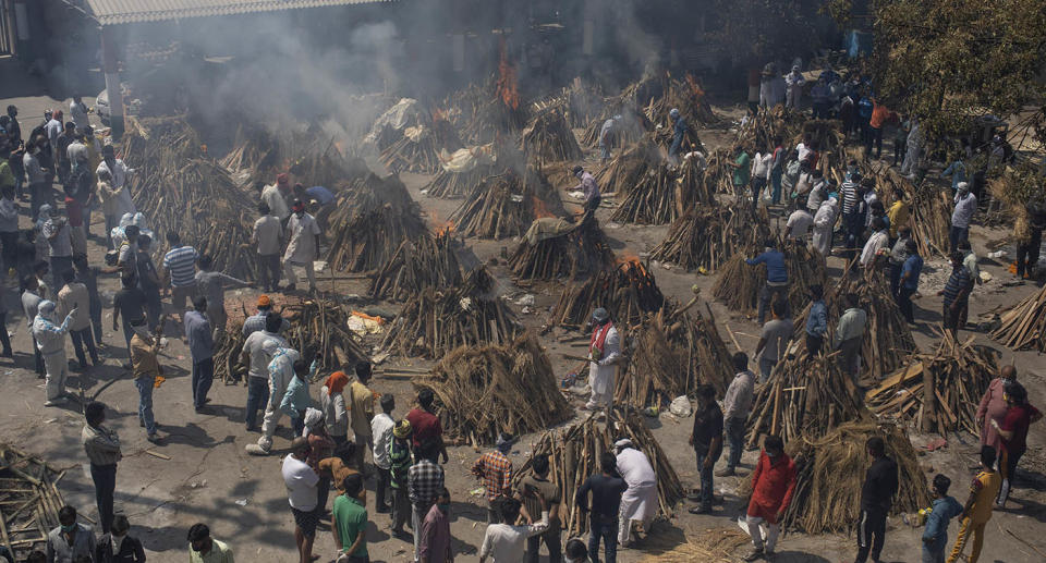 Funeral pyres in India.