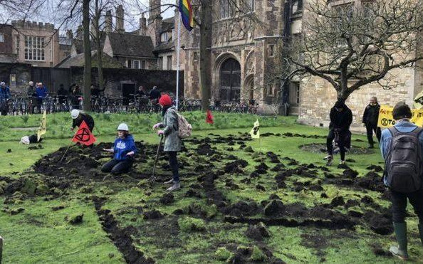 Trinity College lawn dug up by activists