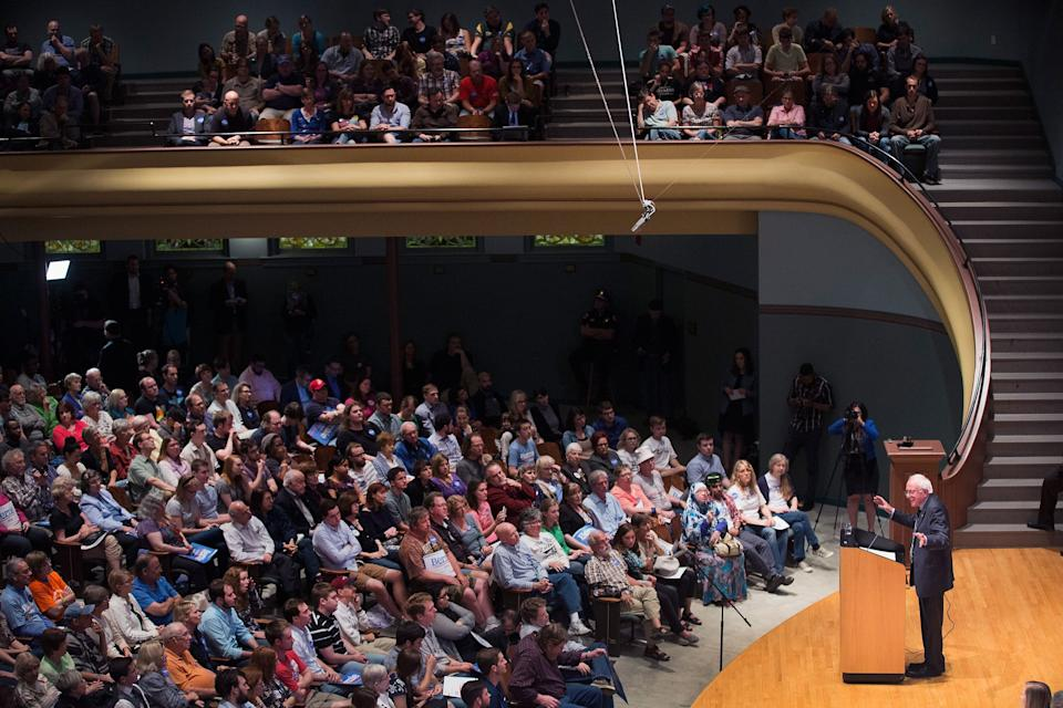 Sen. Bernie Sanders speaks at a campaign event at Drake University on June 12, 2015 in Des Moines, Iowa.