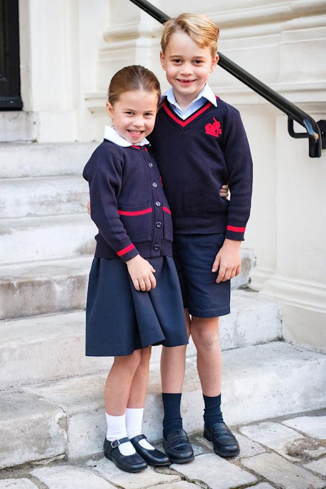 "<p>Prince George and Princess Charlotte smile for a sweet <a href=""https://www.harpersbazaar.com/celebrity/latest/a28925833/prince-george-princess-charlotte-school-portrait-2019/"" target=""_blank"">school portrait</a> in their Thomas's Battersea uniforms.</p>"