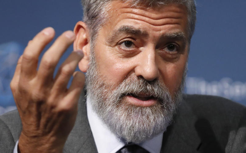 "US actor and activist George Clooney speaks at a press conference about South Sudan in London, Thursday, Sept. 19, 2019. The largest multinational oil consortium in South Sudan is ""proactively participating in the destruction"" of the country, the actor George Clooney and co-founder of The Sentry watchdog group told The Associated Press this week. (AP Photo/Alastair Grant)"