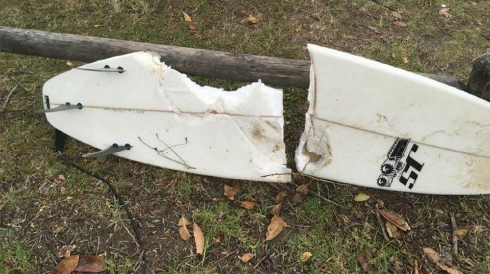 This is believed to be the man's surfboard after the attack. Photo: Twitter