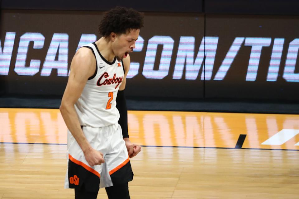 Cade Cunningham #2 of the Oklahoma State Cowboys reacts against the Oregon State Beavers during the second half in the second round of the 2021 NCAA Division I Mens Basketball Tournament held at Hinkle Fieldhouse on March 21, 2021 in Indianapolis, Indiana. (Photo by C. Morgan Engel/NCAA Photos via Getty Images)
