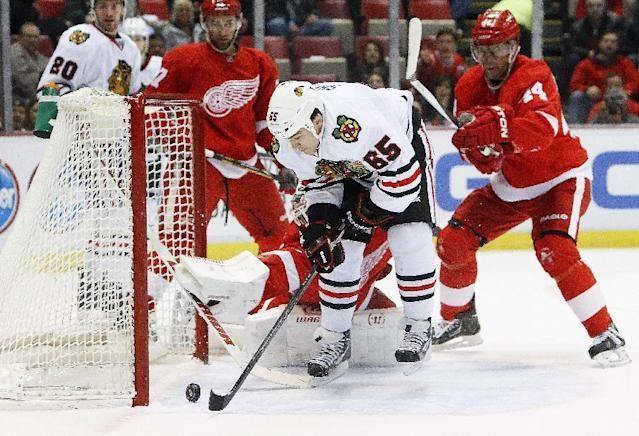 Chicago Blackhawks center Andrew Shaw (65) scores a goal against Detroit Red Wings goalie Jonas Gustavsson, of Sweden, in the first period of an NHL hockey game Wednesday, Jan. 22, 2014, in Detroit. (AP Photo/Paul Sancya)