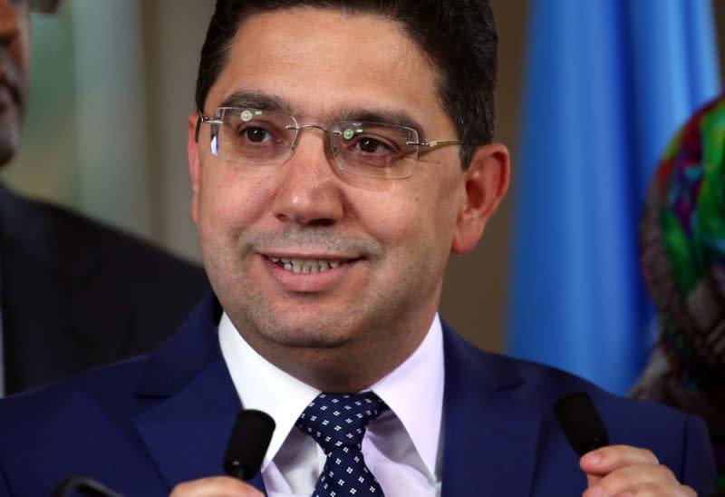 FILE PHOTO: Moroccan Foreign Minister Bourita attends a news conference after a roundtable on Western Sahara at the United Nations in Geneva