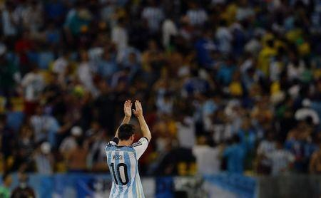 Argentina's Messi acknowledges the fans after they won their 2014 World Cup Group F soccer match against Bosnia at the Maracana stadium in Rio de Janeiro