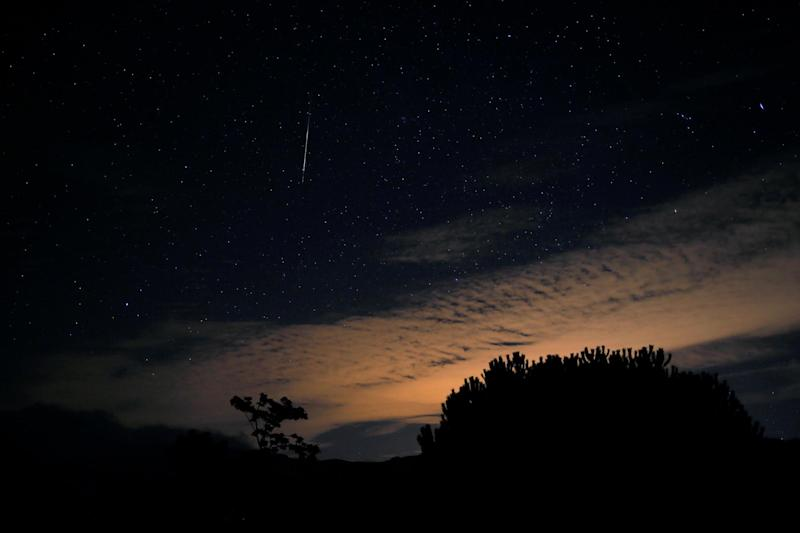 Dazzling display: Orionid meteors light up the sky over the Sierra de las Nieves nature park in Malaga: REUTERS
