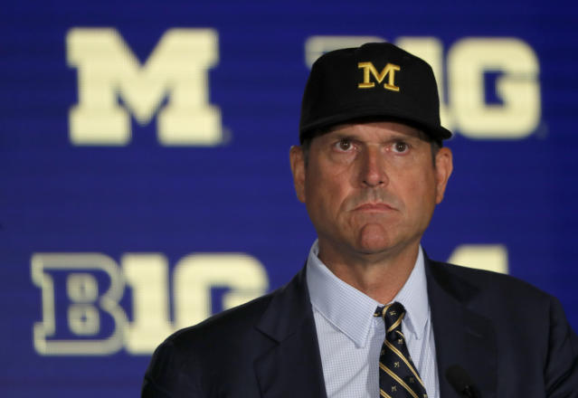 Michigan head coach Jim Harbaugh thinks players should be able to freely transfer one time. (AP)